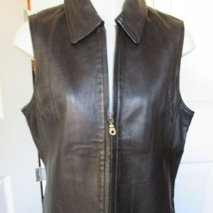 Harold's Women's Black Leather Zip Vest Large